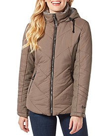 Quilted Puffer Coat with Attached Hood