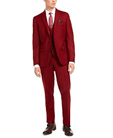Men's Slim-Fit Red Flannel Suit Separates, Created for Macy's