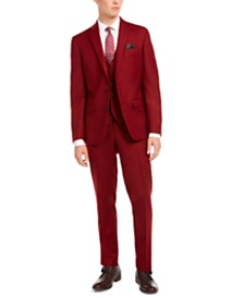 Bar III Men's Slim-Fit Red Flannel Suit Separates, Created for Macy's