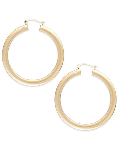 Signature Gold™ Diamond Accent Big Hoop Earrings in 14k Gold over Resin