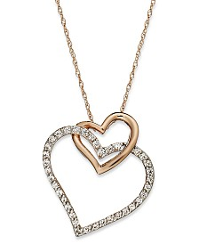 Diamond Double-Heart Pendant Necklace in 10k Rose Gold (1/4 ct. t.w.)
