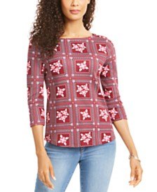 Charter Club Tile-Print Top, Created for Macy's