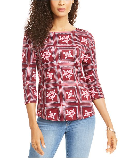 Charter Club Petite Printed 3/4-Sleeve Cotton Top, Created for Macy's