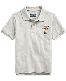 Little Boys Rugby Bear Cotton Mesh Grey Polo Shirt
