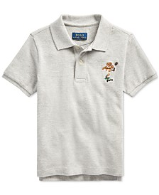 Polo Ralph Lauren Toddler Boys Rugby Bear Cotton Mesh Grey Polo T-Shirts