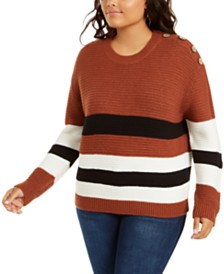 Planet Gold Trendy Plus Size Striped Button-Detail Sweater