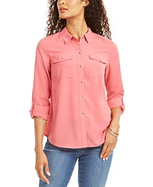 Petite Solid Button-Up Shirt, Created for Macy's