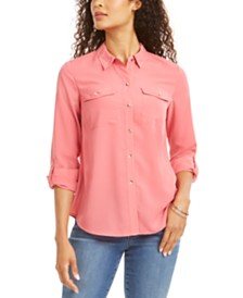 Charter Club Petite Solid Button-Up Shirt, Created for Macy's
