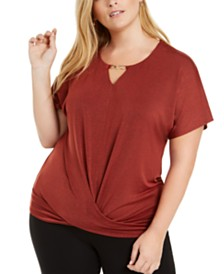JM Collection Plus Size Twist-Front Top, Created for Macy's