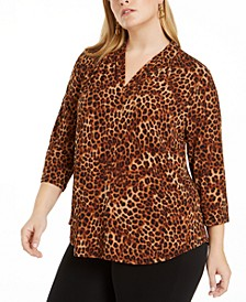 Plus Size 3/4-Sleeve Cheetah-Print Top, Created for Macy's