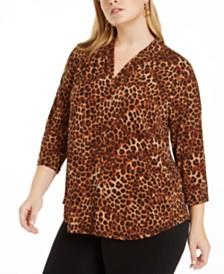 Charter Club Plus Size 3/4-Sleeve Cheetah-Print Top, Created for Macy's