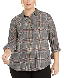 Plus Size Roll-Sleeve Plaid Shirt, Created for Macy's