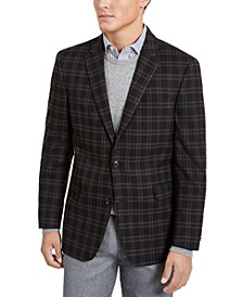 Men's Modern-Fit THFlex Stretch Wine/Black Plaid Sport Coat