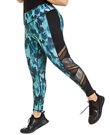 Plus Size Mixed-Media-Trim Printed Leggings, Created for Macy's