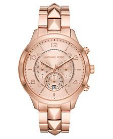 Michael Kors Women's Chronograph Runway Mercer Rose Gold-Tone Stainless Steel Bracelet Watch 44mm