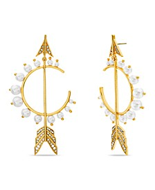 Imitation Pearl and Rhinestone Arrow Earring