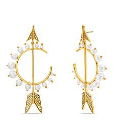 Imitation Pearl and Rhinestone Arrow Earring
