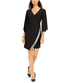 Petite Fringe-Trim Surplice Dress