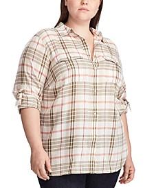 Plus Size Plaid-Print Cotton Button-Up Shirt