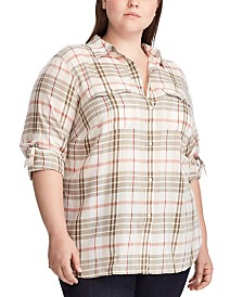 Lauren Ralph Lauren Plus Size Plaid-Print Cotton Button-Up Shirt