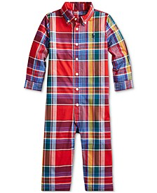 Baby Boys Natural Stretch Plaid Coverall