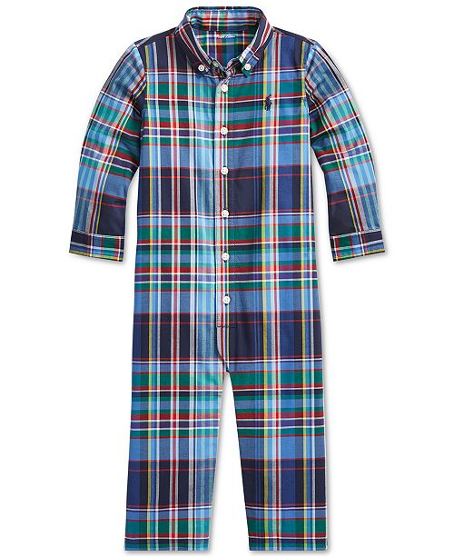 Polo Ralph Lauren Baby Boys Stretch Plaid Coverall