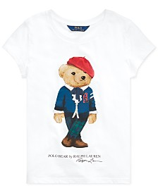 Polo Ralph Lauren Big Girls Jersey Cotton Bear T-Shirt