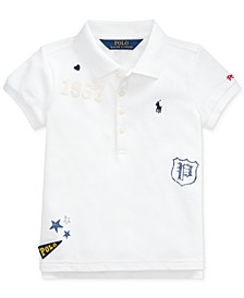 Little Girls Stretch Mesh Novelty Polo Shirt