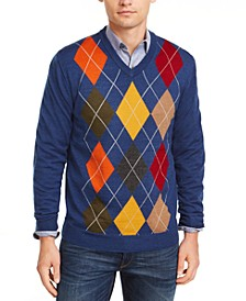 Men's Argyle Panel Merino Sweater, Created for Macy's