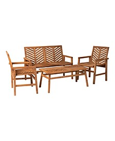 4 Piece Chevron Outdoor Patio Chat Set