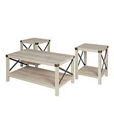 3 Piece Rustic Wood and Metal Accent Table Set