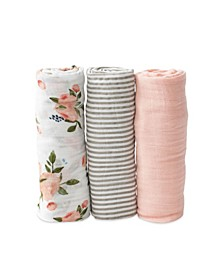 Watercolor Roses Cotton Muslin 3-Pack Swaddle Blanket Set