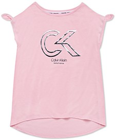 Big Girls Knot-Detail Logo-Print T-Shirt
