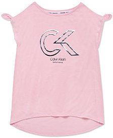 Calvin Klein Performance Big Girls Knot-Detail Logo-Print T-Shirt
