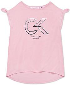 Calvin Klein Performance Big Girls Knot-Detail Logo-Print T-Shirt