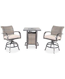 Cane Estates Aluminum 3-Pc. Gathering Height Bar Set (Bar Table with Fire Pit & 2 Swivel Stools)