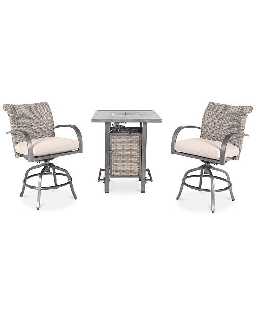 Pacific Casual Cane Estates Aluminum 3-Pc. Gathering Height Bar Set (Bar Table with Fire Pit & 2 Swivel Stools)