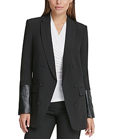 Double-Breasted Jacket With Faux-Leather Sleeves