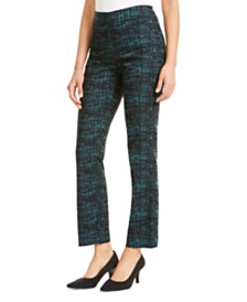 JM Collection Petite Patterned Straight-Leg Pants, Created For Macy's