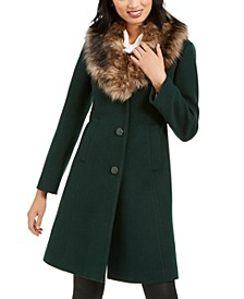 Faux-Fur-Trim Coat, Created for Macy's