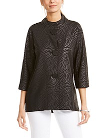 Damask Mock-Neck Jacket, Created for Macy's