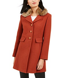 Faux-Fur-Trim Walker Coat