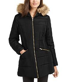 Juniors' Faux-Fur-Trim Hooded Puffer Coat