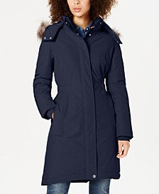 Faux-Fur-Trim Hooded Water-Resistant Puffer Coat