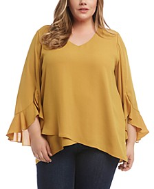Plus Size Ruffle-Sleeve Crossover Top