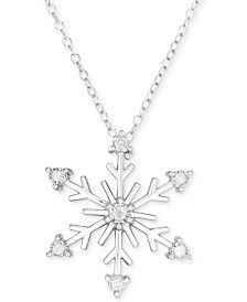 "Diamond Snowflake 18"" Pendant Necklace (1/6 ct. t.w.) in Sterling Silver"
