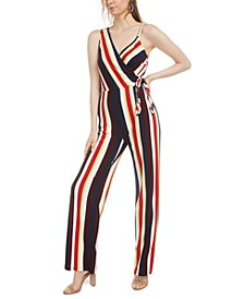 Striped Asymmetrical Side-Tie Jumpsuit, Created for Macy's
