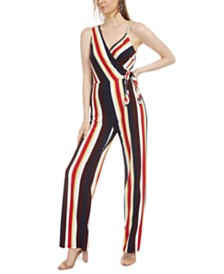 Bar III Striped Asymmetrical Side-Tie Jumpsuit, Created for Macy's