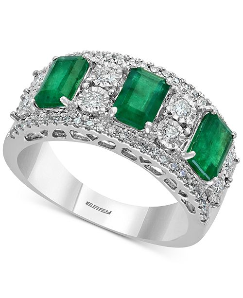 EFFY Collection EFFY® Emerald (1-1/2 ct. t.w.) & Diamond (3/8 ct. t.w.) Ring in 14k White Gold