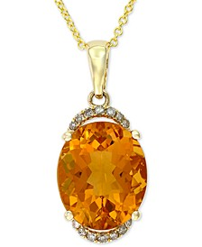 "EFFY® Citrine (4-5/8 ct. t.w.) & Diamond Accent 18"" Pendant Necklace in 14k Gold"